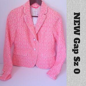 NEW Gap Academy Neon Pink Blazer Sz 0